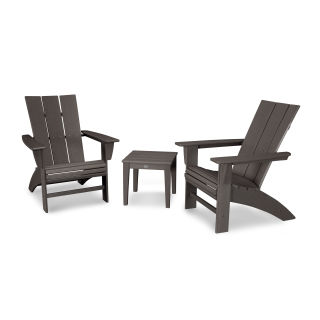 Modern 3-Piece Curveback  Adirondack Set in Vintage Finish
