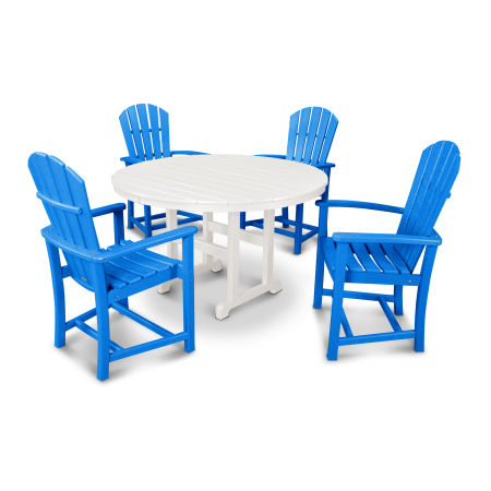 Palm Coast 5-Piece Dining Set in Pacific Blue / White