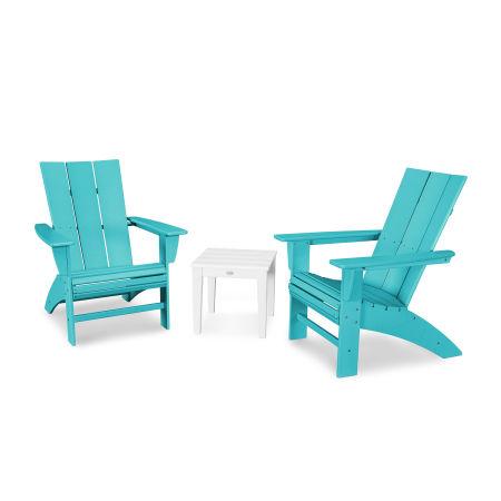 Modern 3-Piece Curveback  Adirondack Set in Aruba / White