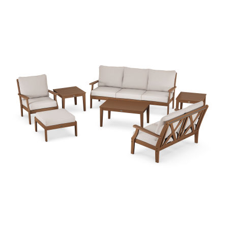 Braxton 7-Piece Deep Seating Set in Teak / Dune Burlap