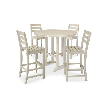 La Casa Café 5 Piece Side Chair Bar Dining Set in Sand