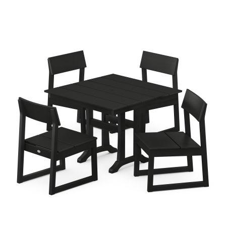EDGE 5-Piece Farmhouse Trestle Side Chair Dining Set in Black