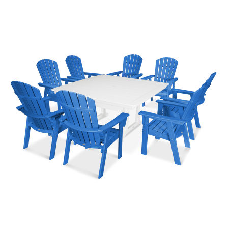 Nautical Adirondack 9-Piece Trestle Dining Set in Pacific Blue / White