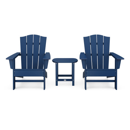 Wave 3-Piece Adirondack Chair Set with The Crest Chairs in Navy