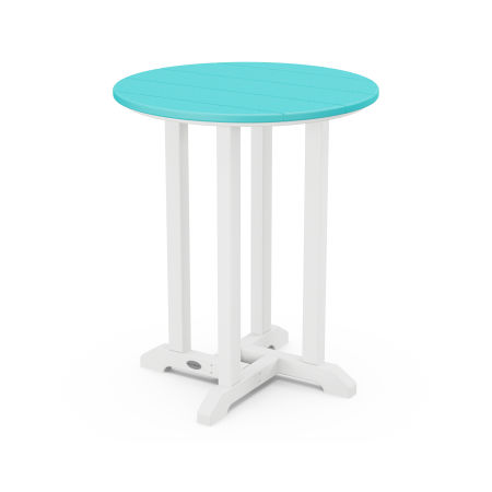 "24"" Round Dining Table in White Frame / Aruba"