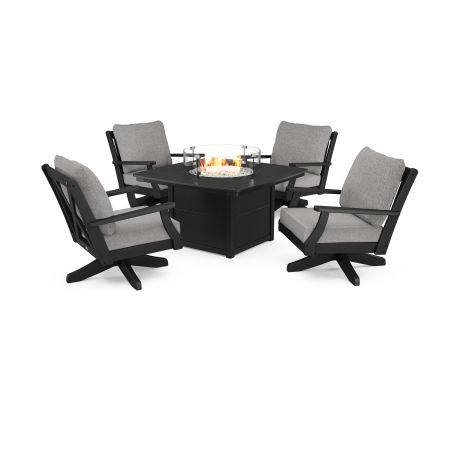 Braxton 5-Piece Deep Seating Swivel Conversation Set with Fire Pit Table in Black / Grey Mist