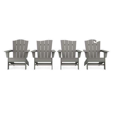 Wave Collection 4-Piece Adirondack Chair Set in Slate Grey