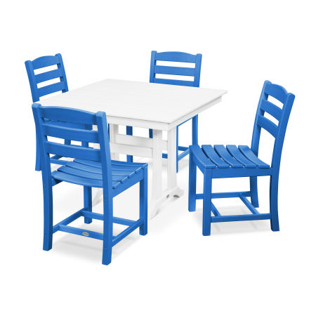 La Casa Café 5-Piece Farmhouse Side Chair Dining Set in Pacific Blue / White
