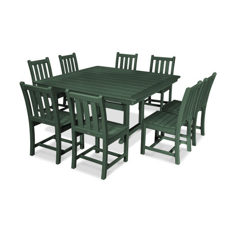 Traditional Garden 9-Piece Nautical Trestle Dining Set in Green