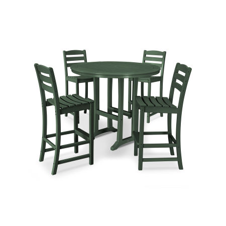 La Casa Café 5 Piece Side Chair Bar Dining Set in Green