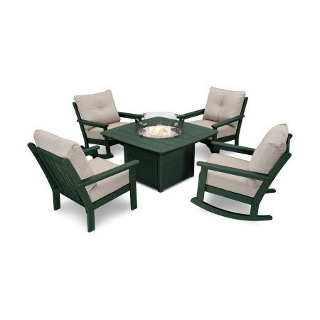 Vineyard 5-Piece Deep Seating Rocking Chair Conversation Set with Fire Pit Table in Green / Cast Ash