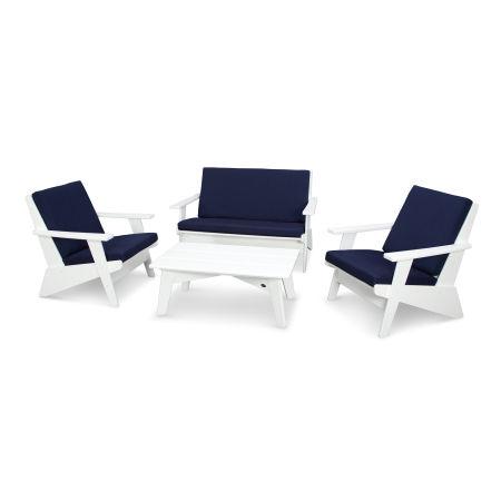 Riviera Modern Lounge 4-Piece Set in White / Spectrum Indigo
