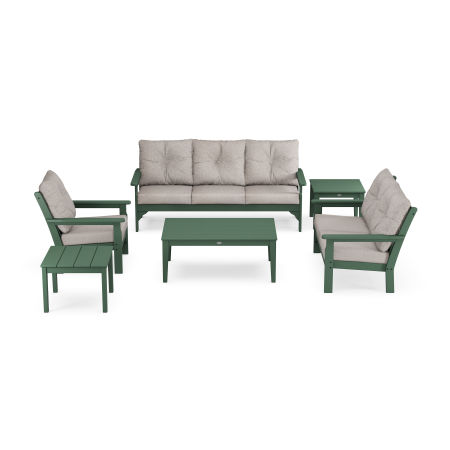 Vineyard 6-Piece Deep Seating Set in Green / Weathered Tweed