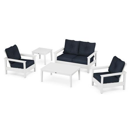 Prescott 5-Piece Deep Seating Set in White / Marine Indigo