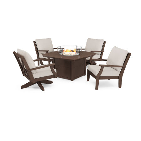 Braxton 5-Piece Deep Seating Set with Fire Table in Mahogany / Cast Ash