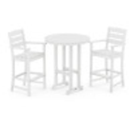 Lakeside 3-Piece Round Bar Arm Chair Set in White