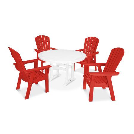 Nautical Adirondack 5-Piece Round Trestle Dining Set in Sunset Red / White
