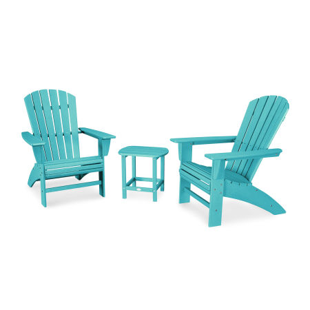 Nautical 3-Piece Curveback Adirondack Set in Vintage Aruba