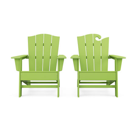Wave 2-Piece Adirondack Chair Set with The Crest Chair in Lime