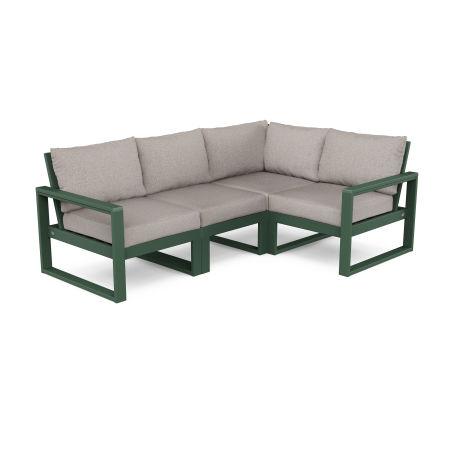EDGE 4-Piece Modular Deep Seating Set in Green / Weathered Tweed