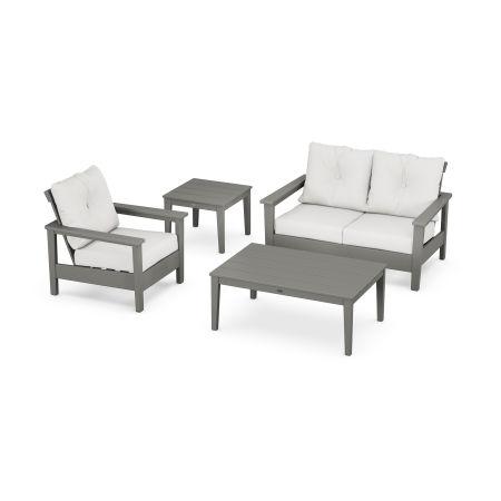 Prescott 4-Piece Deep Seating Set in Slate Grey / Natural Linen