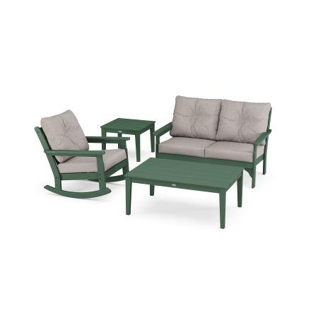 Vineyard 4-Piece Deep Seating Rocker Set in Green / Weathered Tweed