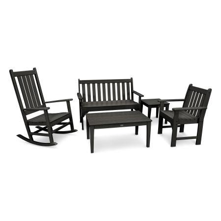 Vineyard 5-Piece Bench & Rocking Chair Set in Black