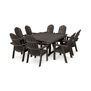 Vineyard Curveback Adirondack 9-Piece Nautical Trestle Dining Set in Vintage Finish