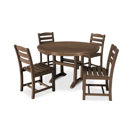 La Casa Café 5 Piece Side Chair Dining Set in Teak