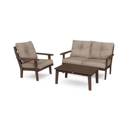 Lakeside 3-Piece Deep Seating Set in Mahogany / Spiced Burlap