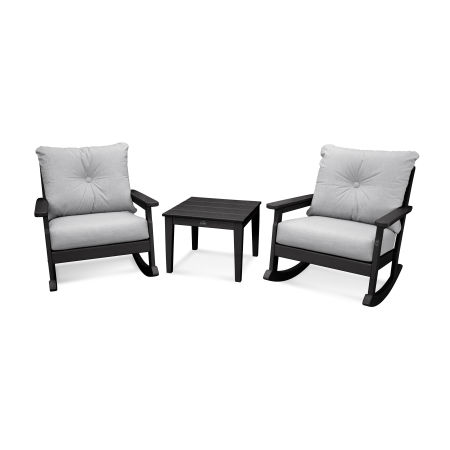 Vineyard 3-Piece Deep Seating Rocking Chair Set in Black / Canvas Granite