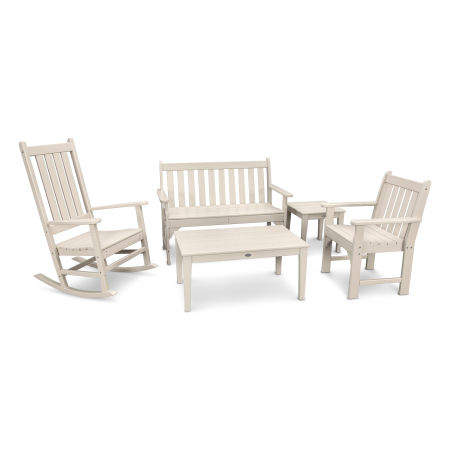 Vineyard 5-Piece Bench & Rocking Chair Set in Sand