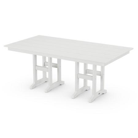 "Lakeside 37"" x 72"" Farmhouse Dining Table in Vintage White"