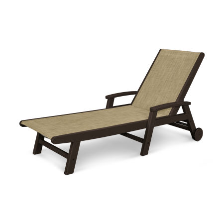 Coastal Wheel Chaise in Mahogany / Burlap Sling