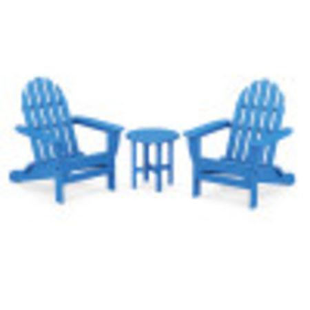 Classic Adirondack Folding Adirondack 3-Piece Set in Pacific Blue