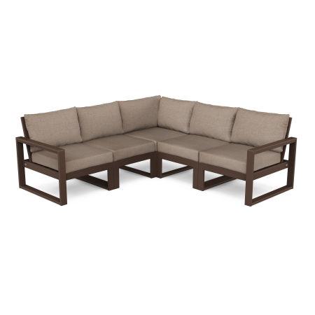 EDGE 5-Piece Modular Deep Seating Set in Mahogany / Spiced Burlap