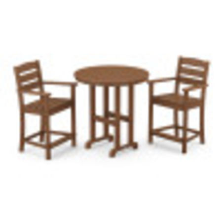 Lakeside 3-Piece Round Counter Arm Chair Set in Teak