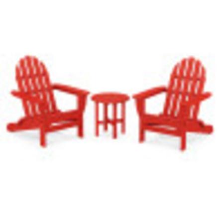 Classic Adirondack Folding Adirondack 3-Piece Set in Sunset Red