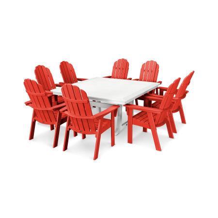 Vineyard Adirondack 9-Piece Nautical Trestle Dining Set in Sunset Red / White