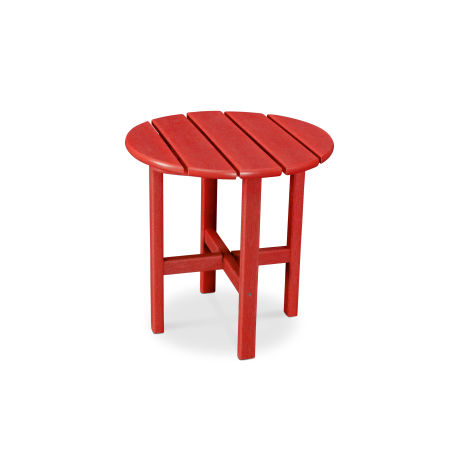"Round 18"" Side Table in Vintage Sunset Red"