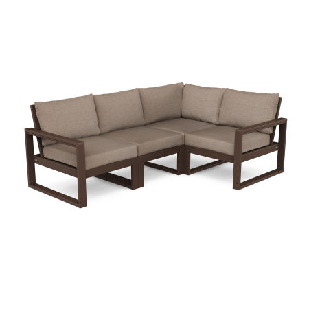 EDGE 4-Piece Modular Deep Seating Set in Mahogany / Spiced Burlap
