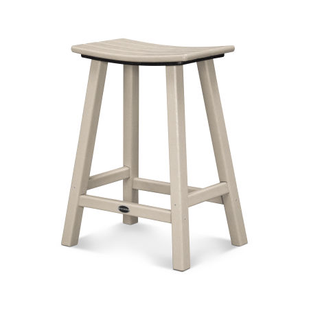 """Traditional 24"""" Saddle Counter Stool in Sand"""