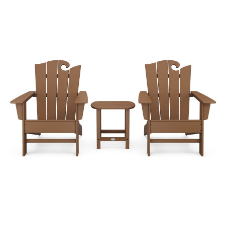 Wave 3-Piece Adirondack Set with The Ocean Chair in Teak