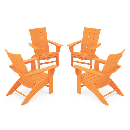 4-Piece Modern Curveback Adirondack Conversation Set in Tangerine