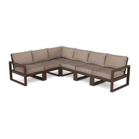 EDGE 6-Piece Modular Deep Seating Set in Mahogany / Spiced Burlap