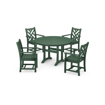 Chippendale 5-Piece Nautical Trestle Dining Arm Chair Set in Green