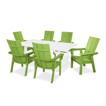 Modern Adirondack 7-Piece Rustic Farmhouse Dining Set in Lime / White