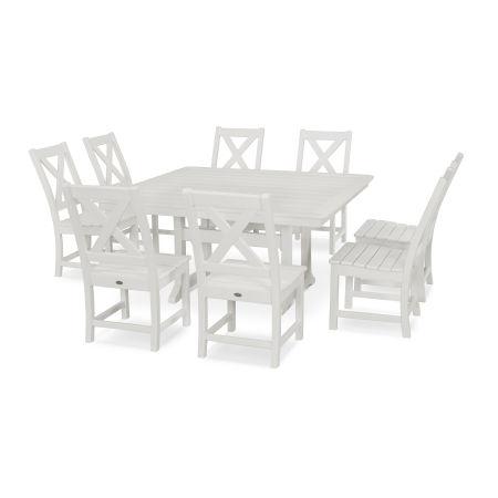 Braxton 9-Piece Nautical Trestle Dining Set in White