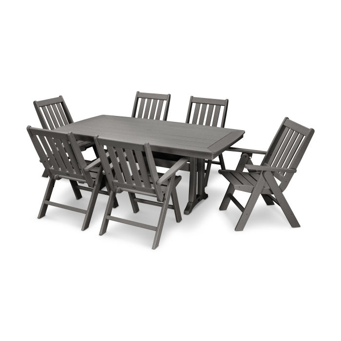 Vineyard 7-Piece Nautical Trestle Folding Dining Set