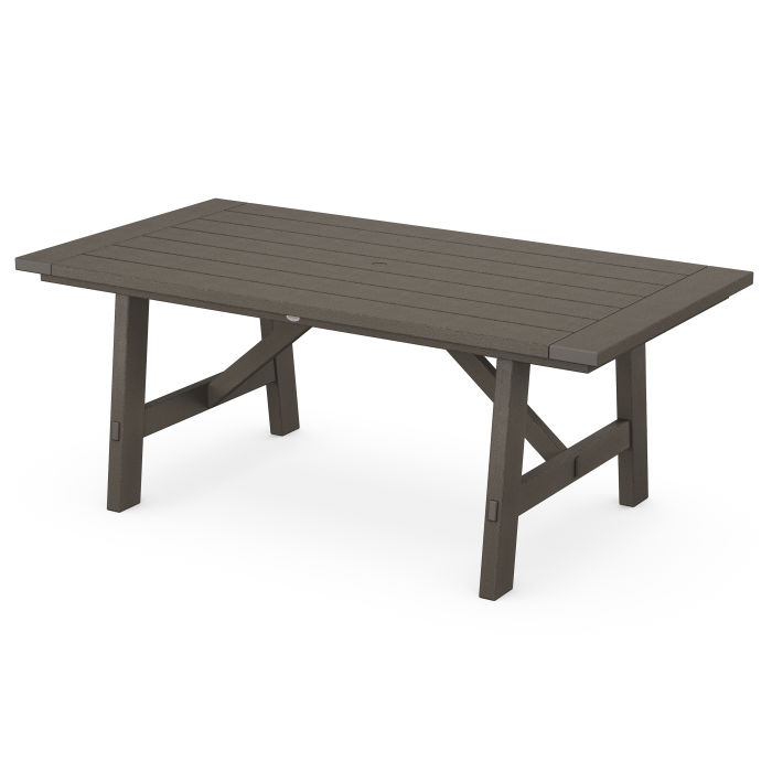 "Rustic Farmhouse 39"" x 75"" Dining Table in Vintage Finish"